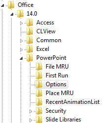 Auf dem Weg zu den PowerPoint-Optionen